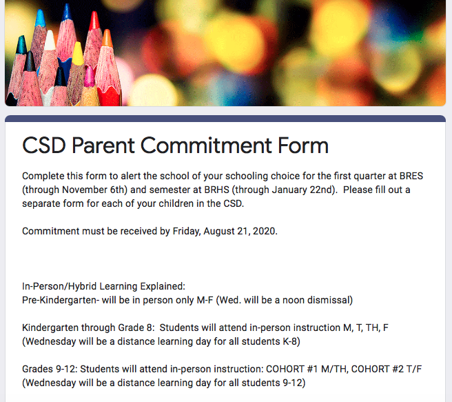 Reminder: Parent Commitment Forms Due
