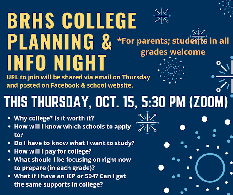 TONIGHT 10/15: BRHS College Planning & Info Night