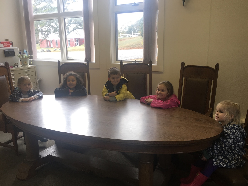 L-R Charlie, Maci, Jack, Maelle, and Phoebe visit Town Office