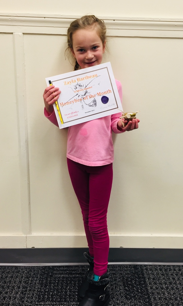 Zayla Baribeau Age 6, Mrs. Martin's Kindergarten class. November Honeybee of the month